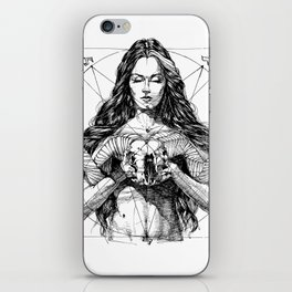 Lady with Skull. Yury Fadeev. iPhone Skin