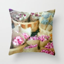 The Flower Seller's Stall  Throw Pillow