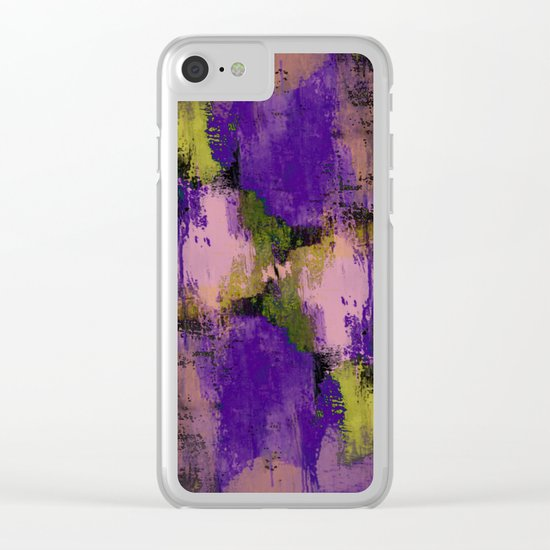 Abstract Nature - Textured, blue, yellow, pink, lilac, purple, black and orange painting Clear iPhone Case