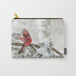 Winter Snow Flight: Northern Cardinal Carry-All Pouch