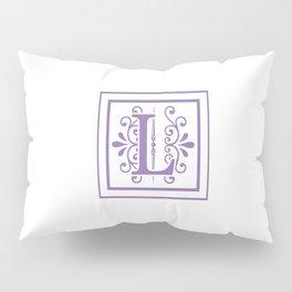 Monogram Letter L in Violet and White Pillow Sham