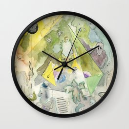 Space Portal (watercolour and inks) Wall Clock