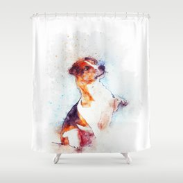Watercolor Jack Russell Handshake Shower Curtain