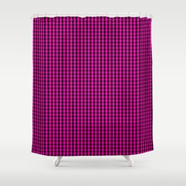 Small Hot Neon Pink and Black Gingham Check Shower Curtain