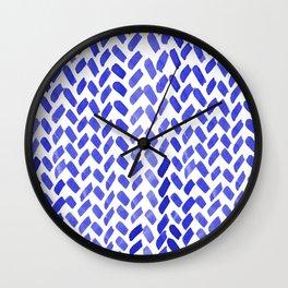 Cute watercolor knitting pattern - blue Wall Clock