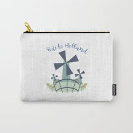 Dutch windmill with canal footbridge blue Carry-All Pouch