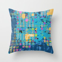African Teal Blue Graphic Throw Pillow