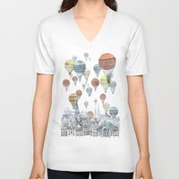 wall clock V-neck T-shirts featuring Voyages over Edinburgh by David Fleck