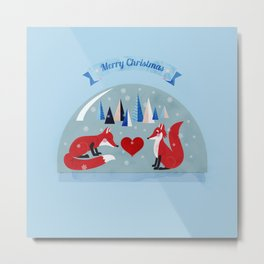 Christmas foxes in love Metal Print