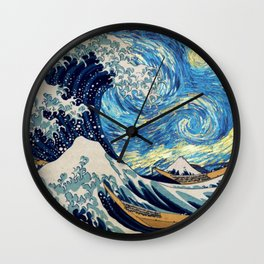 Starry (Great Wave) Night Wall Clock