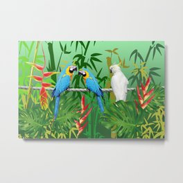 Jungle leaves and Bamboo with Macaw Metal Print