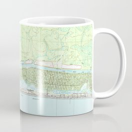 Oak Island North Carolina Map (1990) Coffee Mug