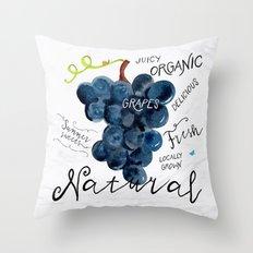 Watercolor grapes Throw Pillow