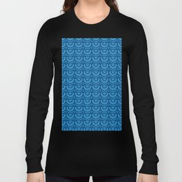 Classic Blue Boho Festival Abstract Wave Geometric Pattern Long Sleeve T-shirt