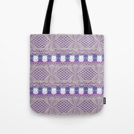 Vintage ivory purple floral lace cute funny owls Tote Bag