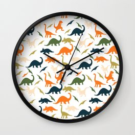 Dinos in Pastel Green and Orange Wall Clock
