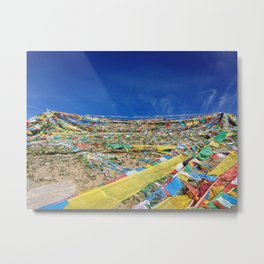 colorful prayer flags on the Tibetan mountain Metal Print