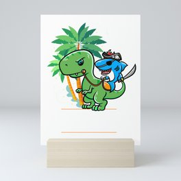 Funny Dinosaur Shark Pirate design - Perfect Gift Mini Art Print