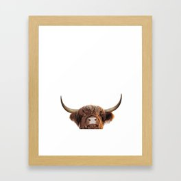 Highland cow, brown cow Framed Art Print
