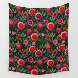 Bright Blooms Hand-Print Floral - Dark Wall Tapestry