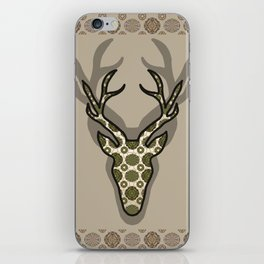 Deer with green pattern iPhone Skin