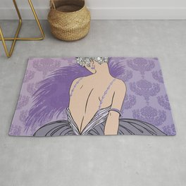 Art Deco Lady with Damask - BIANCA: Mauve and More Rug