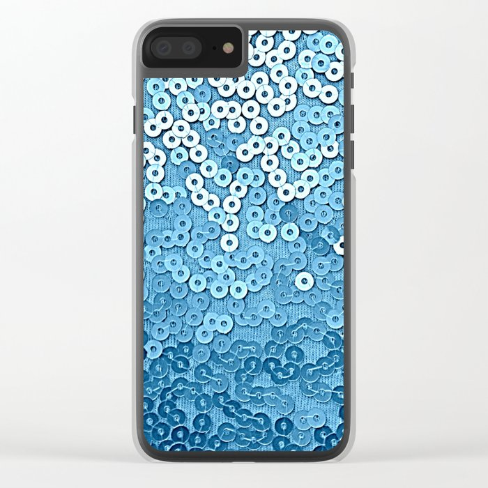 Ocean Blue Sequins Clear iPhone Case