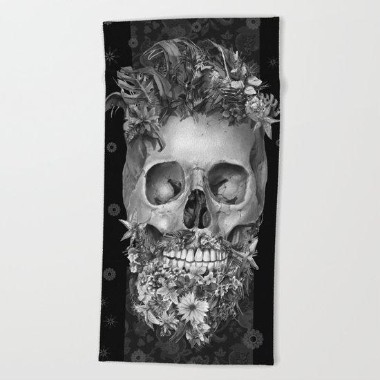 floral beard skull 3 Beach Towel