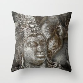 Statue at the entrance of The Polonnaruwa Vatadage Throw Pillow