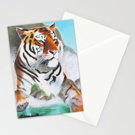 Quiet Tiger - big cat - animal - by LiliFlore Stationery Cards