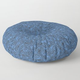 Black and Blue Abstract Circles Floor Pillow