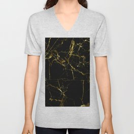 Golden Marble - Black and gold marble pattern, textured design Unisex V-Neck