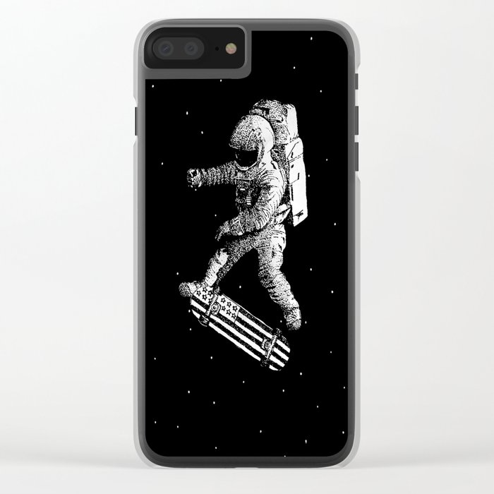 Kickflip in space Clear iPhone Case