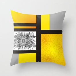 Sunflower Doodle on bright bold background Throw Pillow