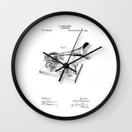 patent art Berliner Gramophone 1895 Wall Clock