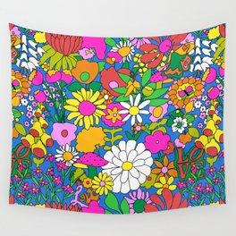 60's Groovy Garden in Blue Wall Tapestry