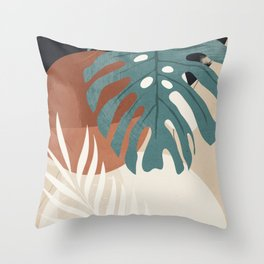 Abstract Art Tropical Leaves  Throw Pillow