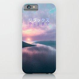 """Relax"" Japanese Vaporwave Aesthetic Sunset iPhone Case"