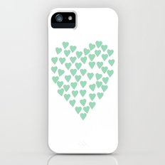 Hearts Heart Mint iPhone (5, 5s) Slim Case