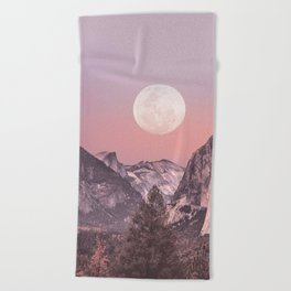Pastel Full Moon Over Yosemite Park Beach Towel