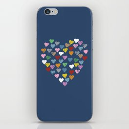 Distressed Hearts Heart Navy iPhone Skin
