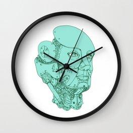 Humanoid Robot Head Female Monoline Wall Clock