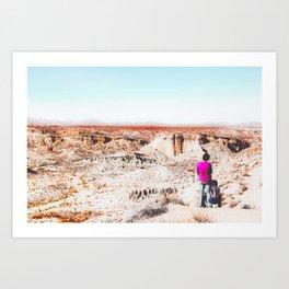 Desert with blue sky in summer in California, USA Art Print