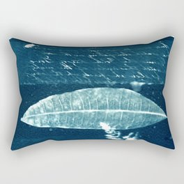 Peotic collection: fern, leaf and poem, collage, blue print, cyanotype print, wall art, wall decor Rectangular Pillow