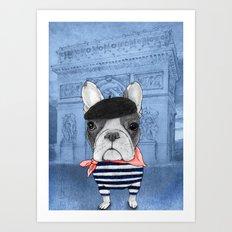 Frenchie with Arc de Triomphe Art Print