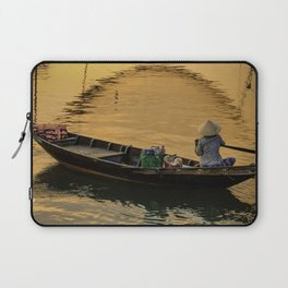 Boat on the River at Sunset Laptop Sleeve