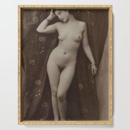 Victorian Vintage Posing Lady Erotic French Nude Postcard Serving Tray