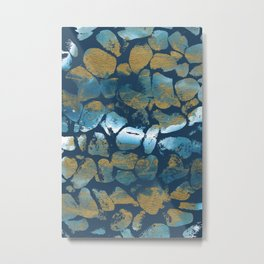 Blue Pebbles On Blue Metal Print