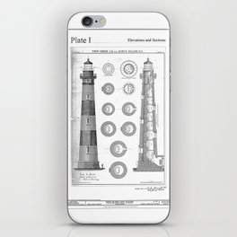 Vintage Bodie Island Lighthouse Diagram iPhone Skin