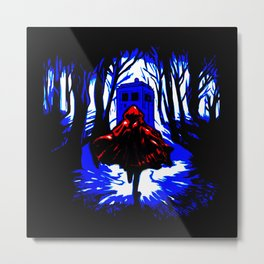 Red Riding Hood Tardis Metal Print